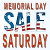 Memorial Day Sale Saturday in red, white and blue lettering