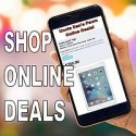 thumb nail image of cell phone shopping online. Shop online deals!