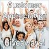 Happy group of customers raising hands