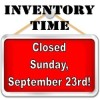 Announcement: Closed for Inventory Sunday, September 23, 2018